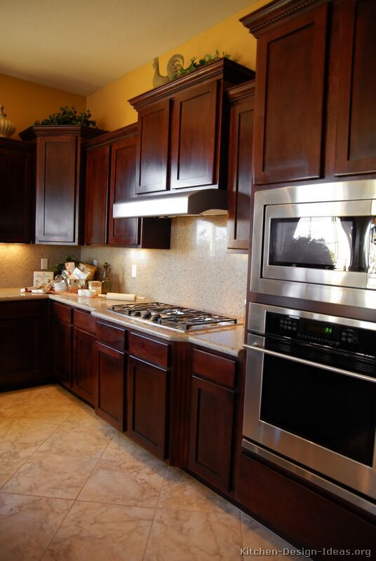 Traditional Dark Wood Cherry Kitchen Cabinets #19 (Kitchen Design Ideas.