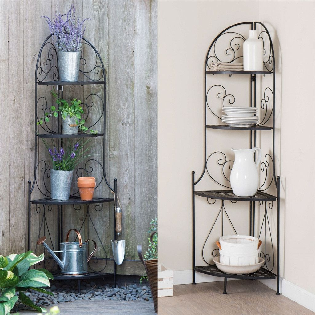 Corner Bakers Rack With Storage Mesmerizing Indoor  Outdoor Corner Bakers Rack Folding Metal Plant Stand With 4 Review