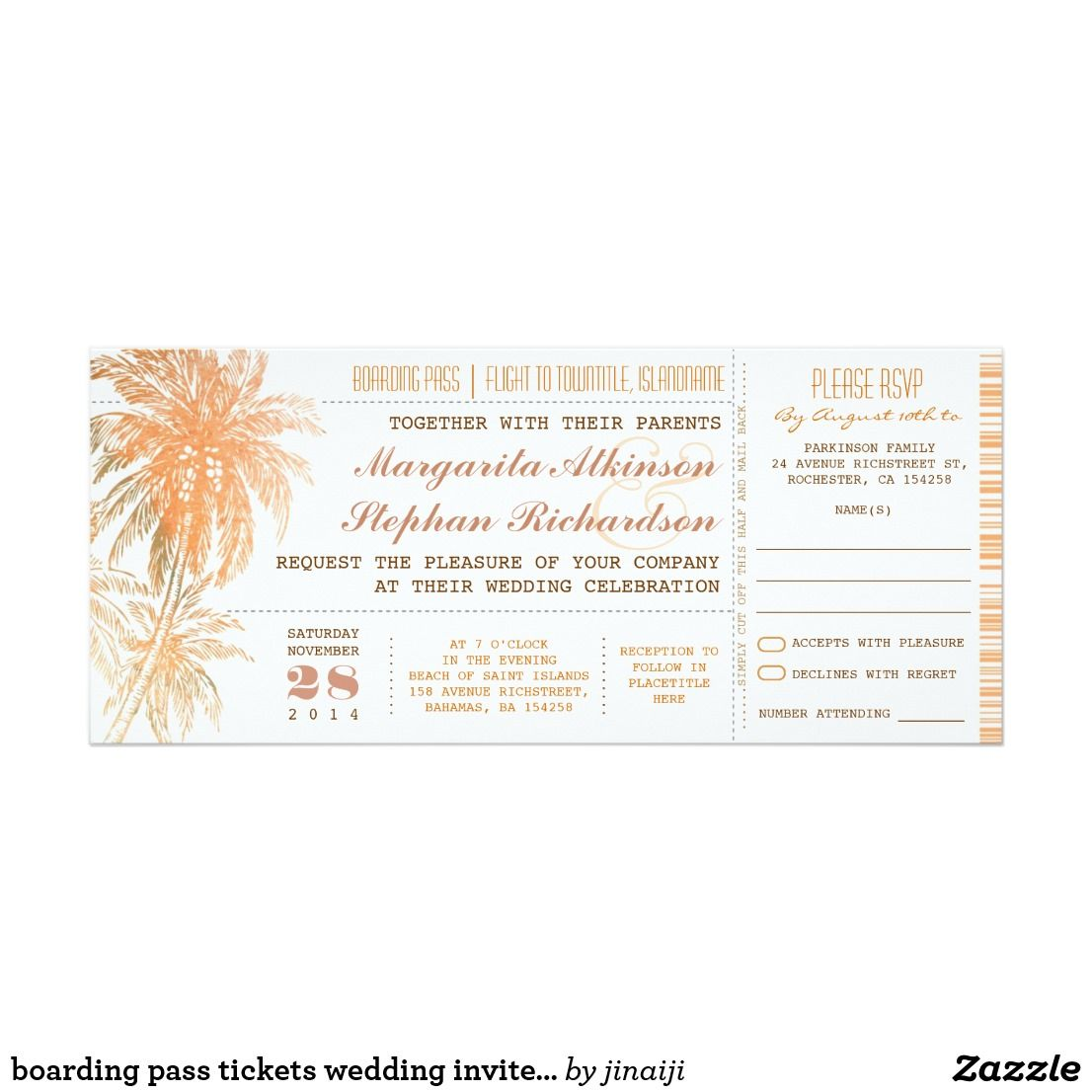 boarding pass tickets wedding invites with RSVP | Pinterest ...