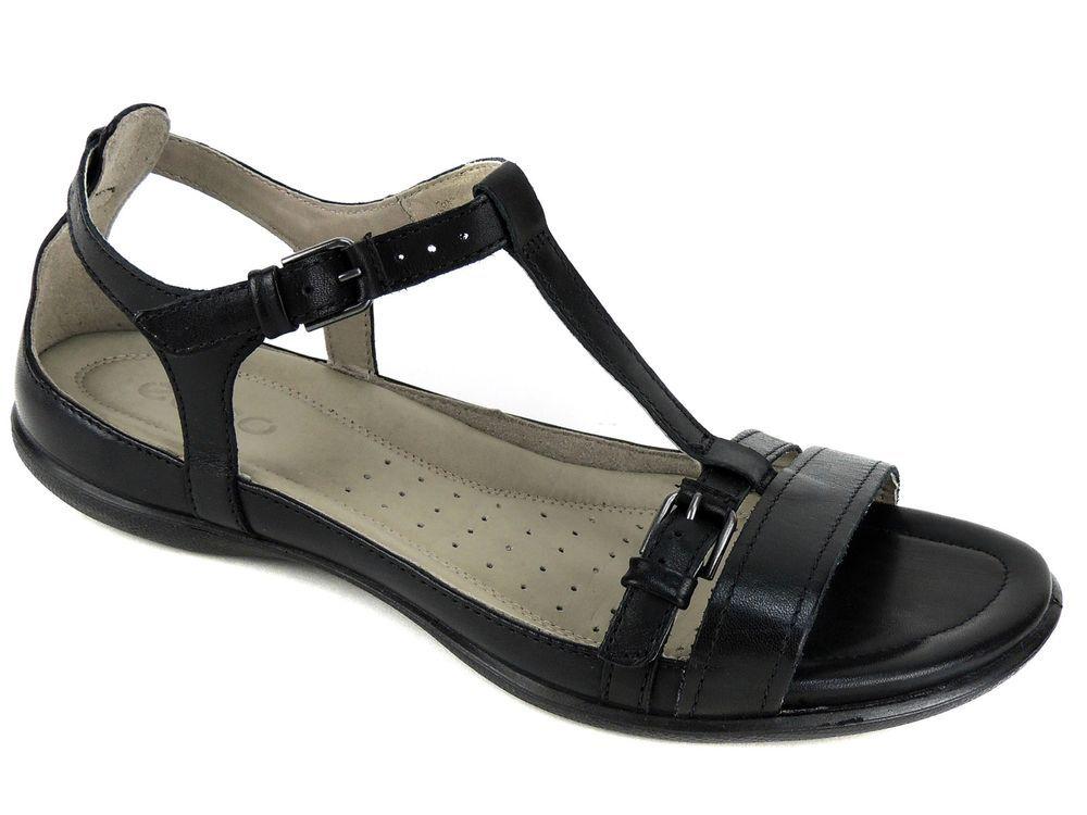 ECCO Womens 39 8 8.5 Black Leather T-strap Sandals Flats Shoes HG