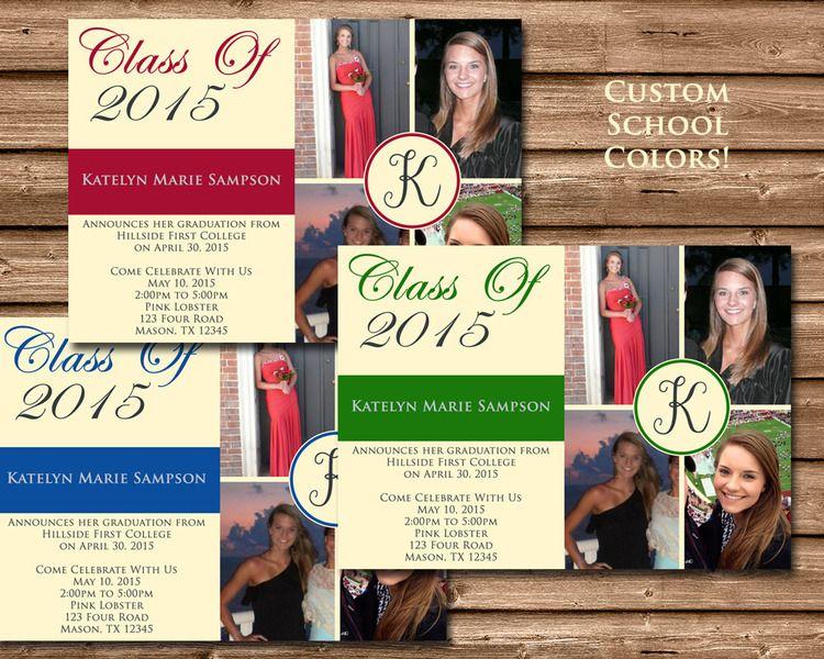 custom school color photo graduation announcements pinterest