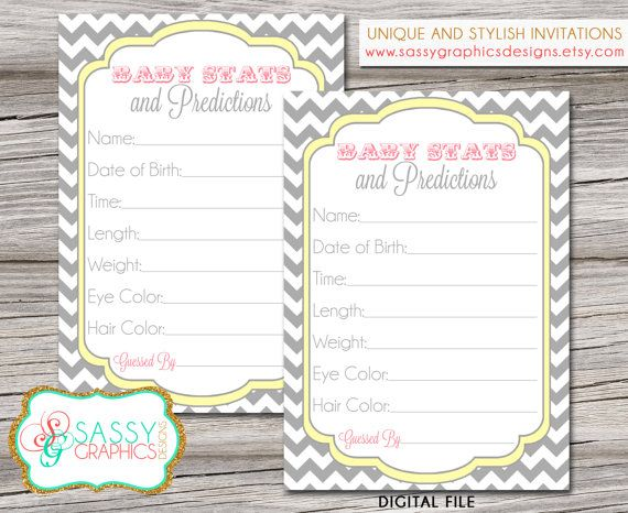 Instant download baby stats and predictions card with gray chevron, yellow, and pink. Printable, digital file Ordering is super easy!    1.