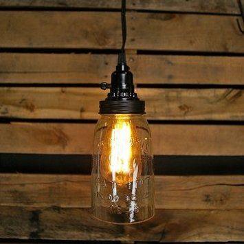Quart Open Bottom Mason Jar Lamp in Rustic Brown - Ceiling Pendant Fixtures - Amazon.com
