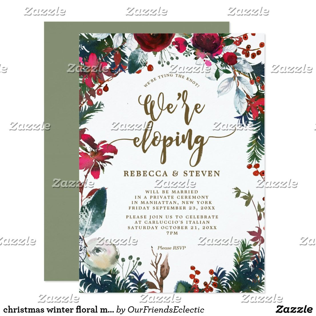 Christmas Winter Floral Modern Eloping Invitation Zazzle