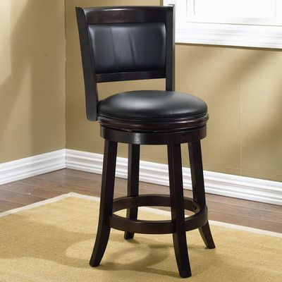 """Darby Home Co Orangeville 24"""" Swivel Bar Stool Finish: Cappuccino, Upholstery: Black"""