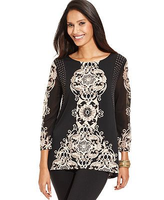 Style&co. Top, Three-Quarter-Sleeve Printed High-Low