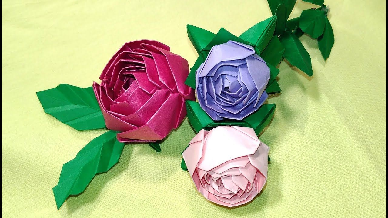 How to make an origami rose ♥ Origami rose instructions VERY EASY ... | 720x1280