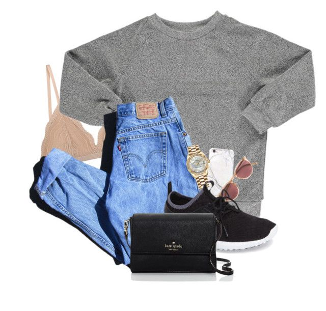 """""""They're gonna watch me disappear into the sun."""" by anna-clair ❤ liked on Polyvore featuring Cosabella, Popupshop, russell+hazel, Levi's, Rolex, Oliver Peoples, NIKE and Kate Spade"""