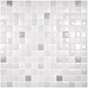 Mosaïque Pâte De Verre Carré Blanc Nacré Mix Plaque Achat De - Plaque mosaique salle de bain