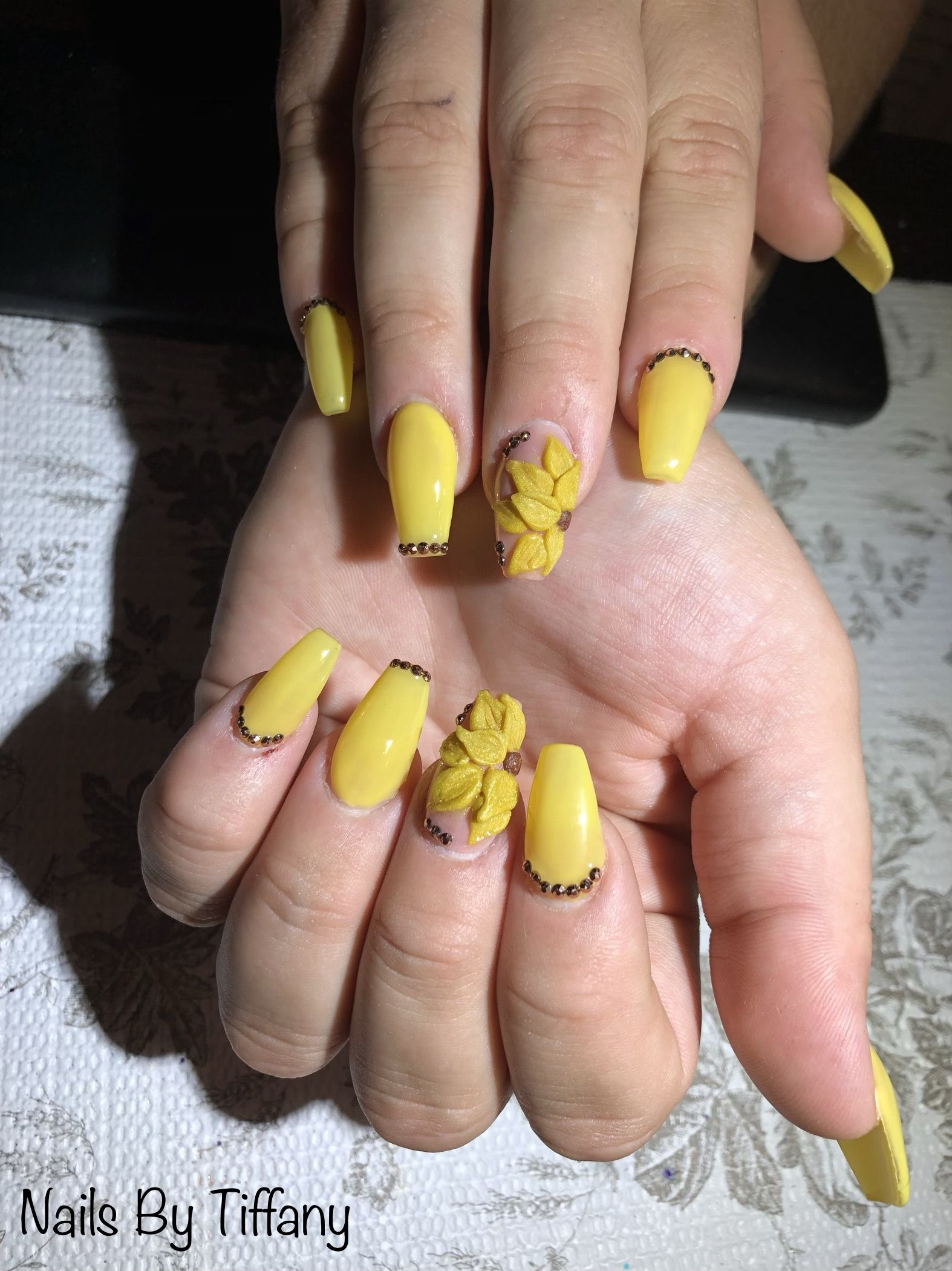 Bright Yellow Short Coffin Nails With An Acrylic 3d Sunflower Done Accented With Bronze Gemstones Done By Me Short Coffin Nails Nails Coffin Nails