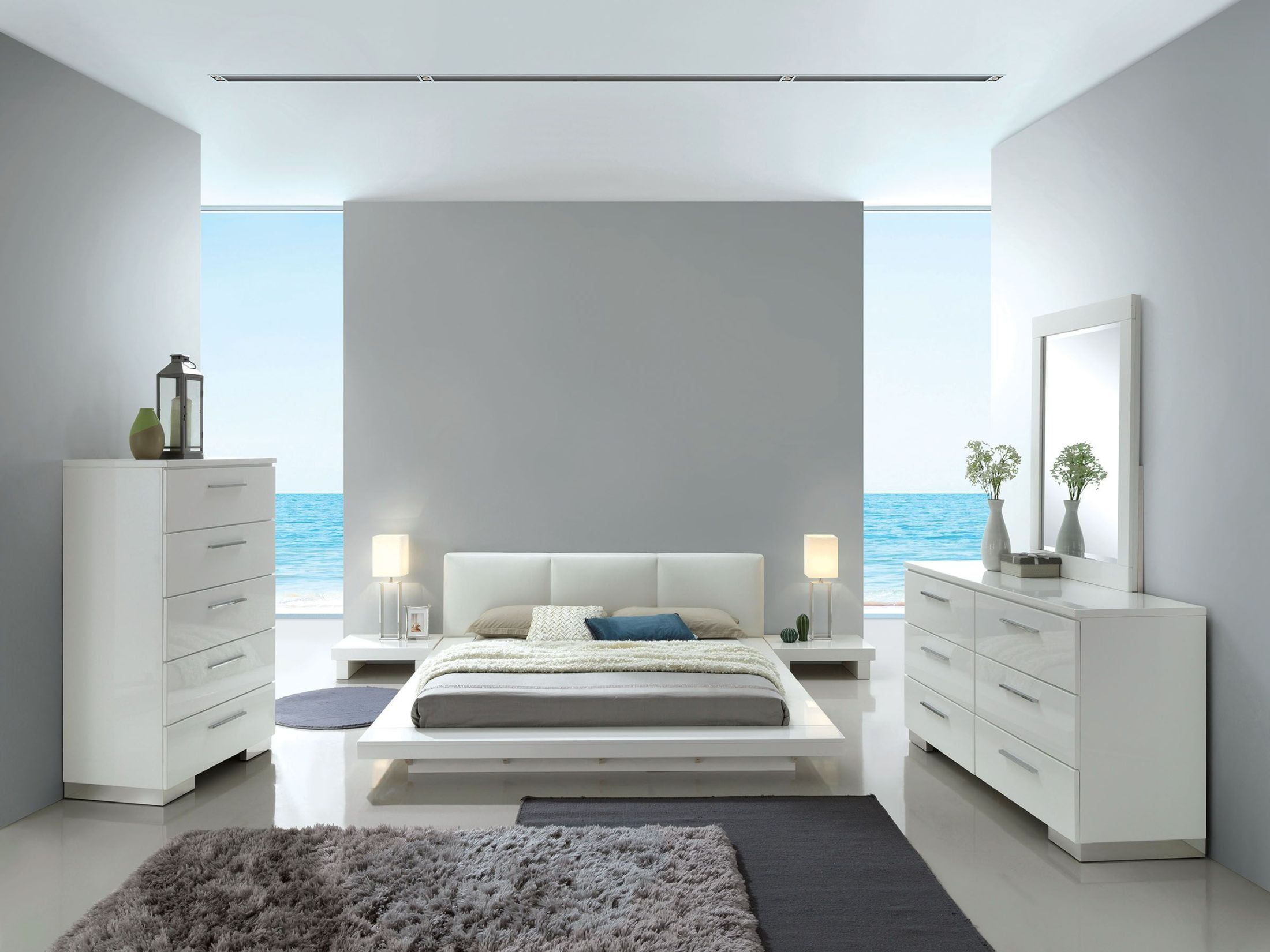 Christie High Gloss White Upholstered Platform Bedroom Set