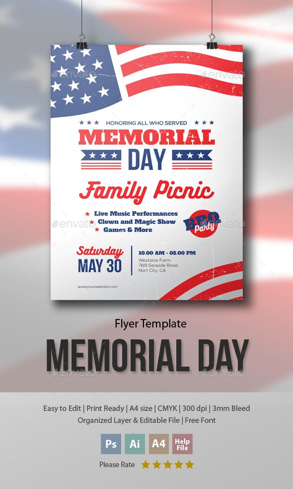 Memorial Day   Family Picnic Flyer Template