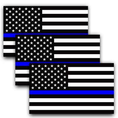 Anley 5 In X 3 In Thin Blue Line Us Flag Decal Black White And