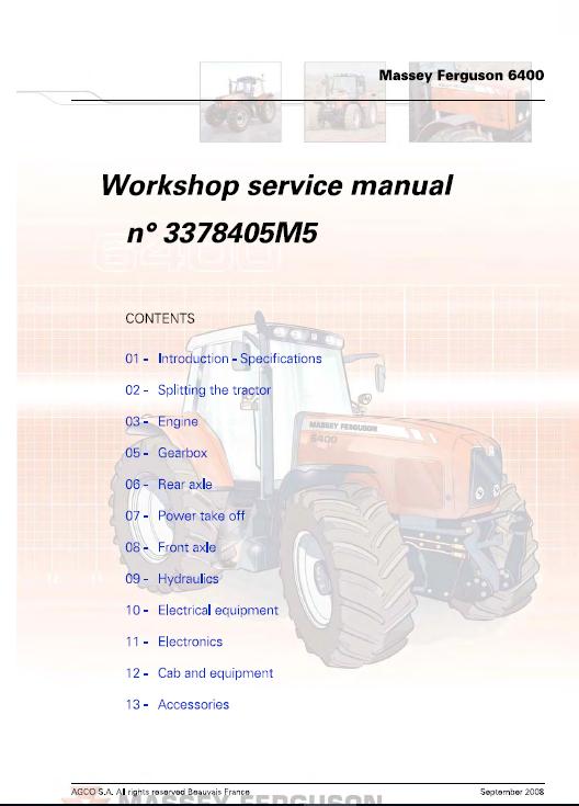 Massey Ferguson 6445 6455 6460 6465 6470 6475 6480 Tractor Service Manual Massey Ferguson Tractors Ferguson