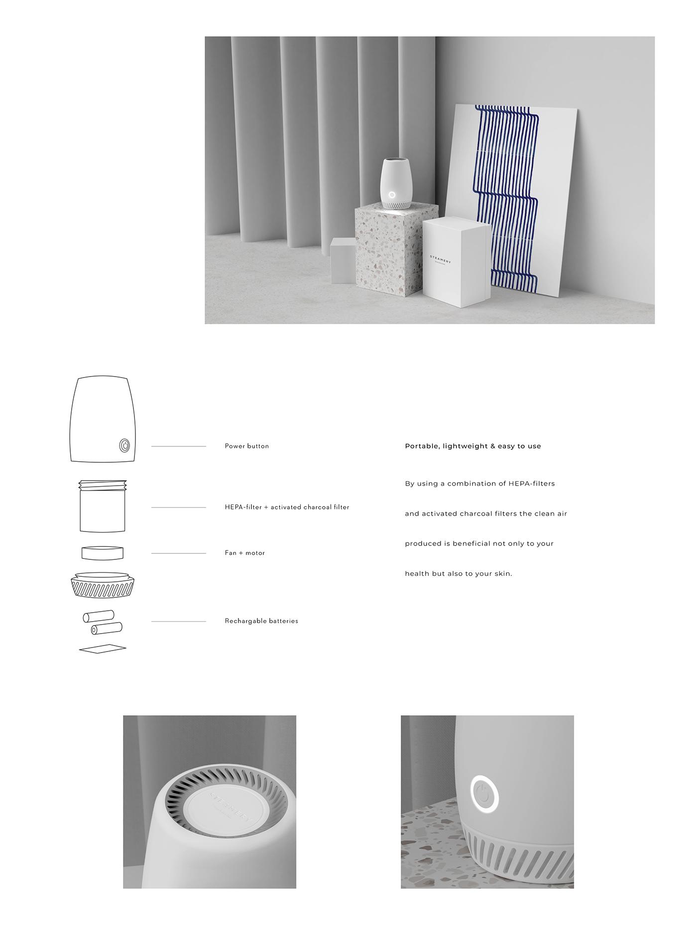 Portable Air Purifier on Behance in 2020 Portable air
