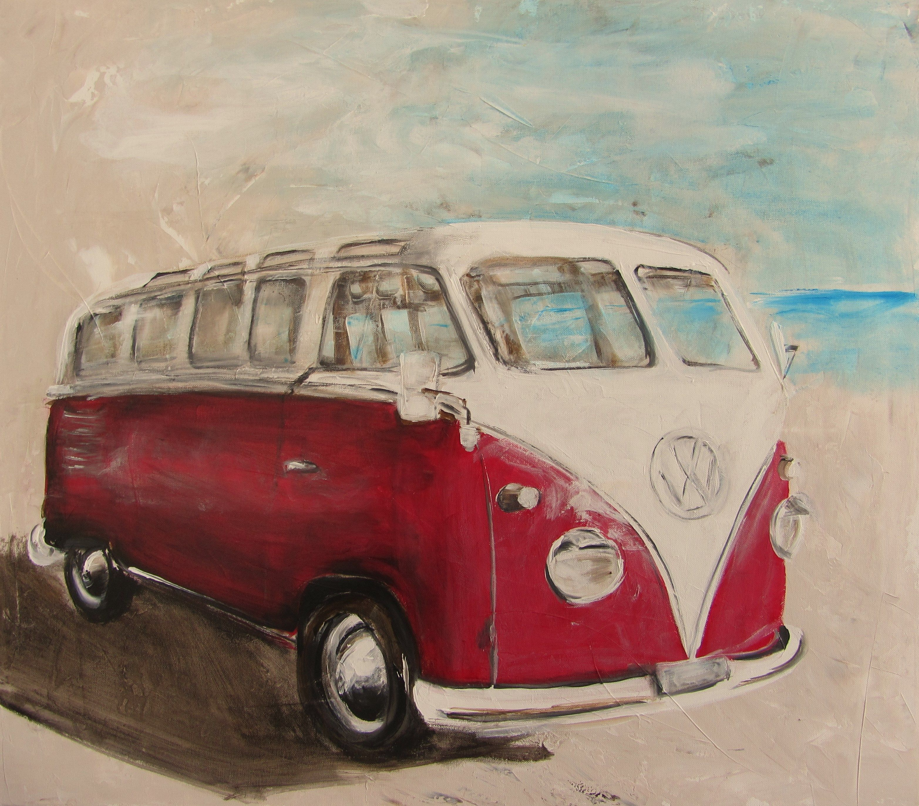 vw bulli t1 rot vw bus art kunst anja frackmann. Black Bedroom Furniture Sets. Home Design Ideas
