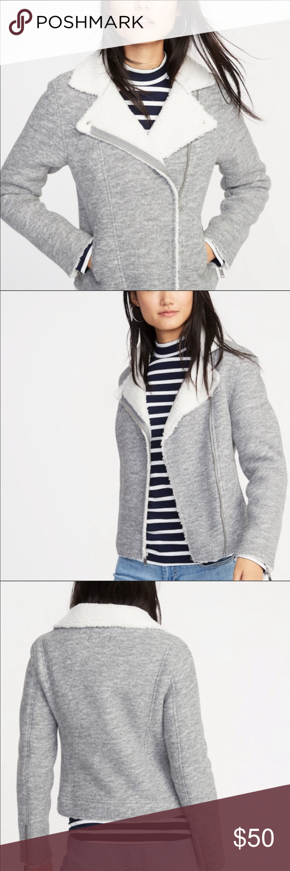 Old Navy Sherpa Moto Fleeced Jacket NWT (With images