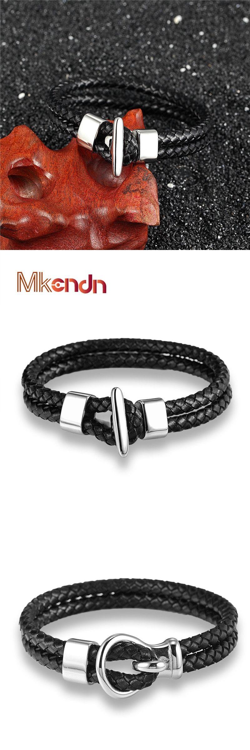 Mkendn fashion men hand bracelet multilayer black leather weave