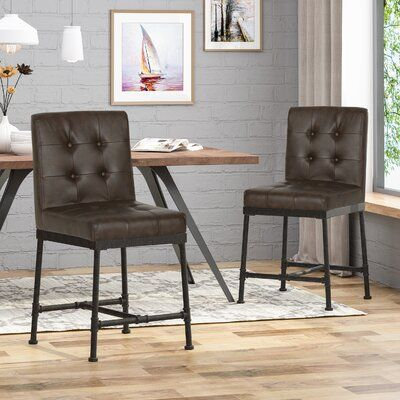 17 Stories Tracy Industrial Modern 24 Bar Stool Colour Dark Brown In 2020 Modern Counter Stools Black Counter Stools Leather Counter Stools