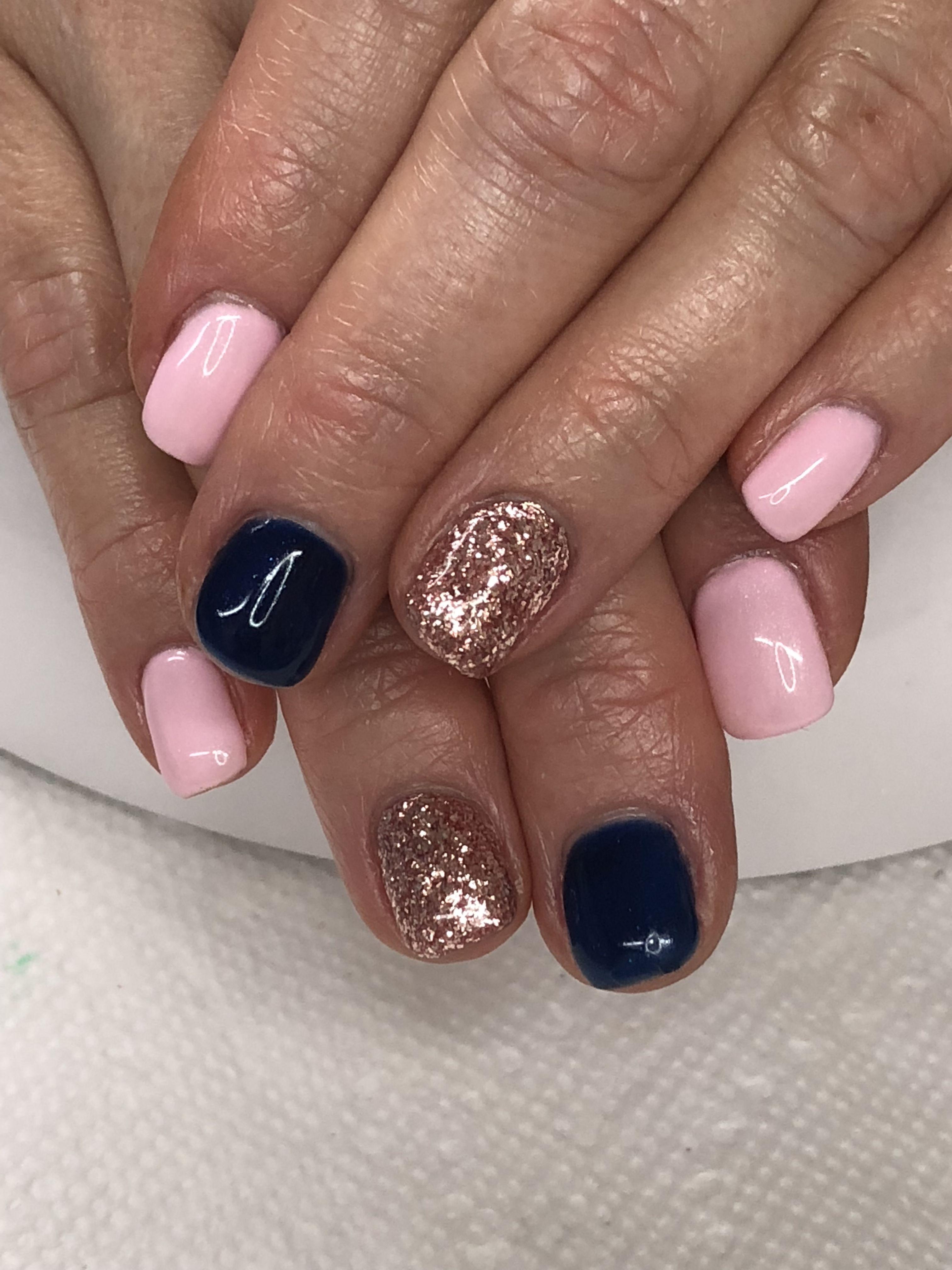 Spring Summer Fall Pink, Navy, Tose Gold Glitter Gel Nails Light Elegance Perfe…