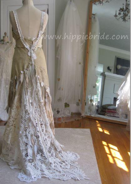 Hippie bride white leather wedding dress
