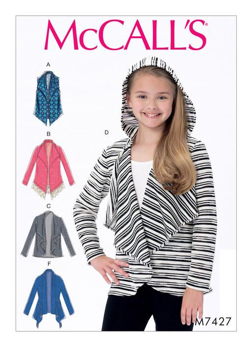 fddf282280db5 McCall s sewing pattern M7427 Girls  Shawl Collar Vest and Cardigans ...