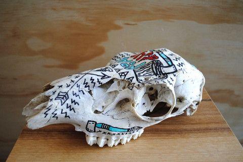 Gretel's Headdress Hand Painted Salvaged Skull