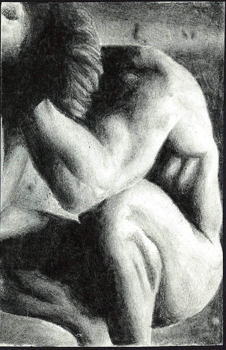 Hombre Pensando Ilustración hecha con Carboncillo by Tizito