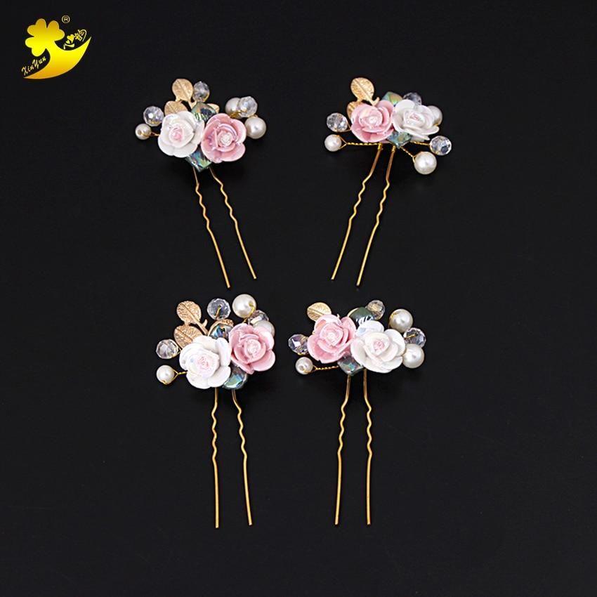 Women/'s Bridal Rose Flower Hairpin Hair Clips Pins Wedding Hair Pin Accessories