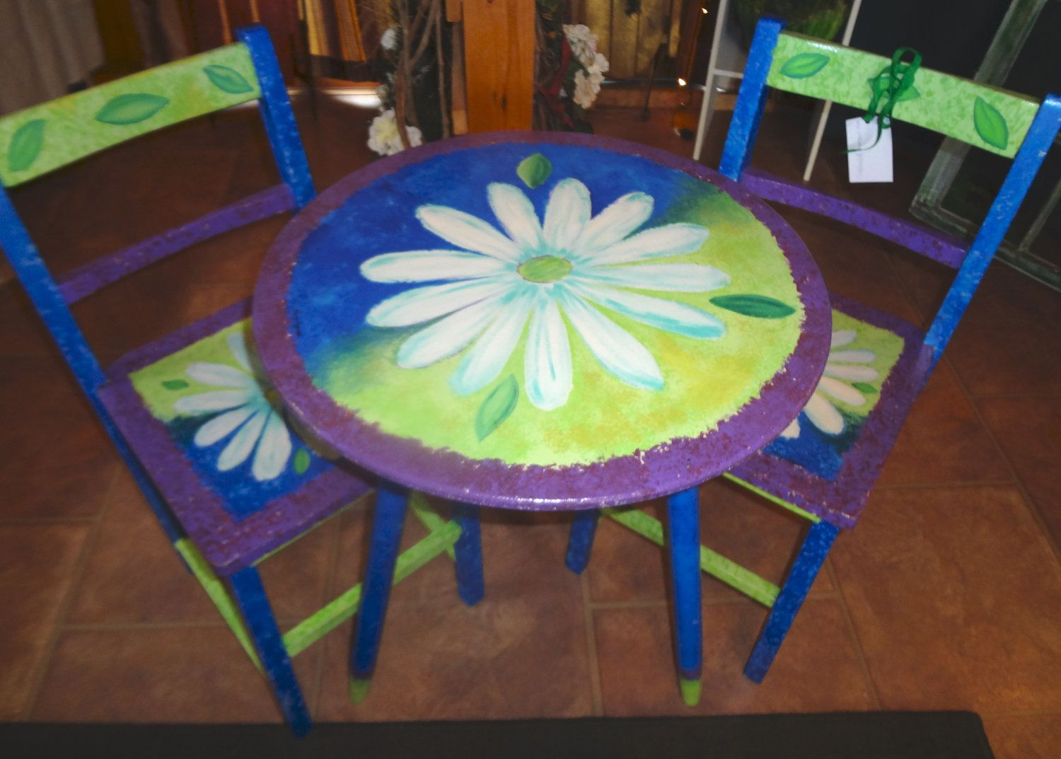 Ideas for hand painted chairs - Funky Hand Painted Furniture Upcycled Hand Painted Crazy Daisy Wooden Bistro Set By Pruvisions