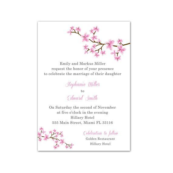 Pink blossom flowers wedding invitations cards wedding cards pink blossom flowers wedding invitations cards wedding cards personalised wedding invites custom wedding items printable stopboris Choice Image