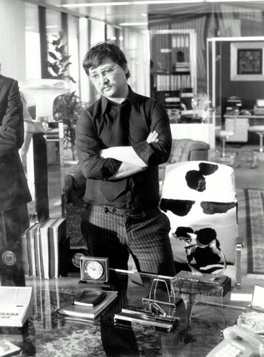 Rainer Werner Fassbinder on set