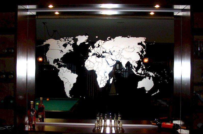 Sandblasted image of world map on a mirror mama pinterest sandblasted image of world map on a mirror gumiabroncs Gallery