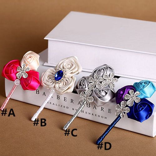 Celebrity Wedding Flowers Centerpieces: 4Pcs-hand-made-Satin-rose-Groom-Boutonniere-wedding-best