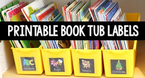 Book Tub Labels Pre-K/TK Classroom, Book box labels, Books