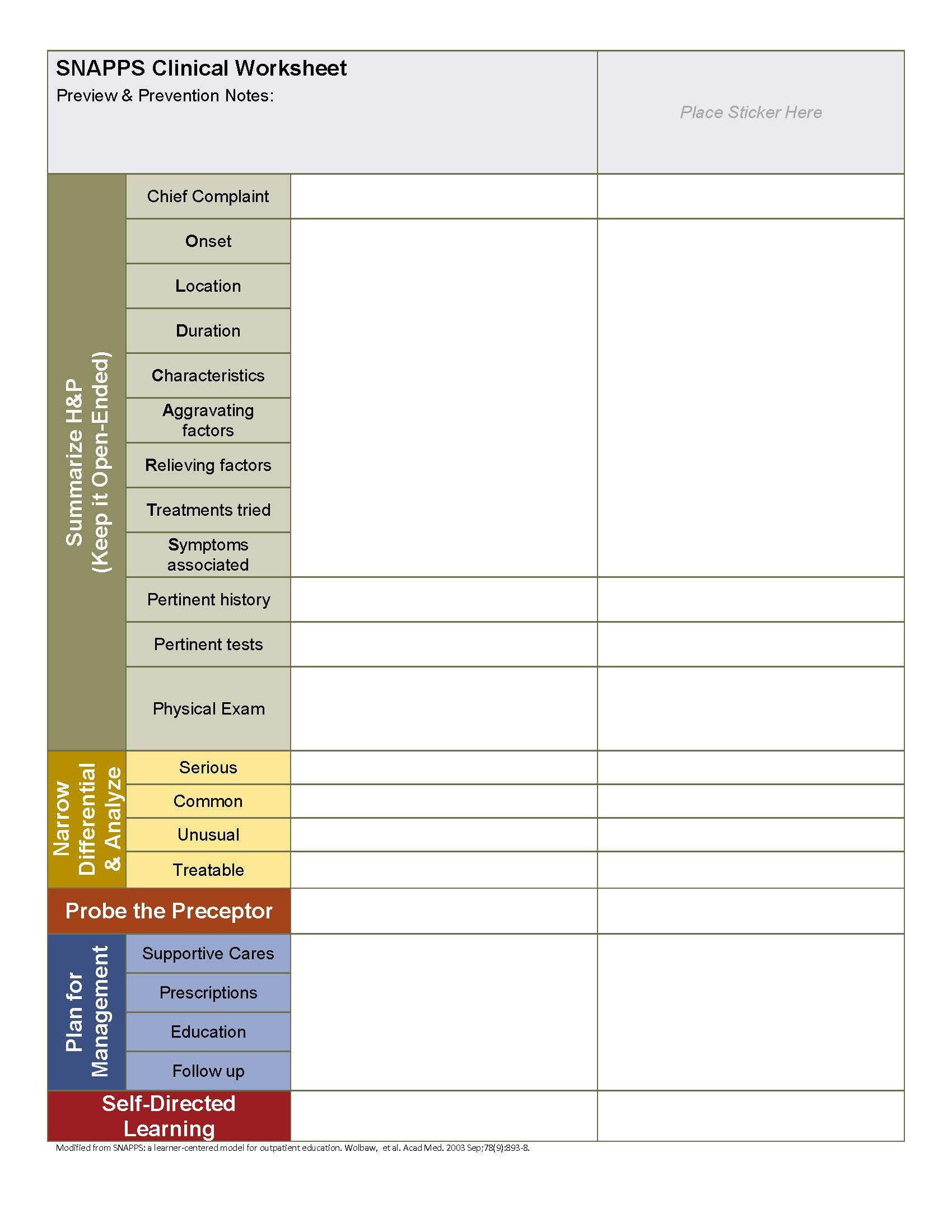 Snapps Worksheet For Medical Learners