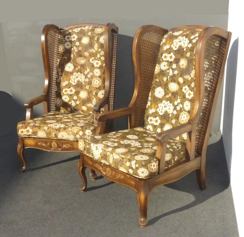 Pair Vintage Mid Century Modern Wingback CANE Brown Floral