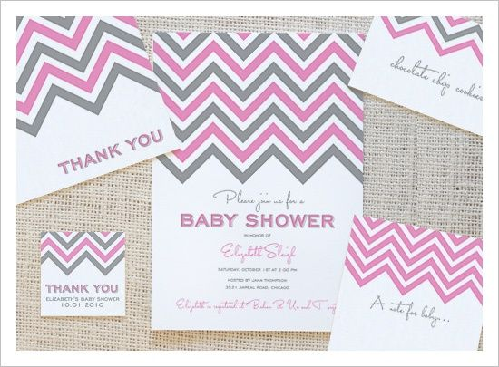 Free Chevron Printable Baby Shower Invites, Thank Yous, Favor Tags