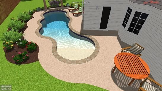 swimming pool in a small yard with beach entry and bubbler fountain swimming pool designs pinterest small yards pools and swimming pools. beautiful ideas. Home Design Ideas