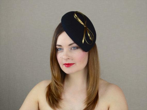 Black Wool Felt Teardrop Pillbox Hat Fascinator with Gold Leather Ribbon  Bow - Black and Gold Fascin 2595330bce2