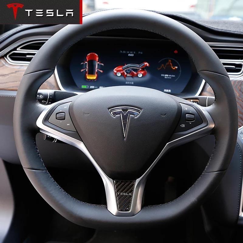 Tesla Carbon Fiber Emblem For Steering Wheel Logo Sticker Decal