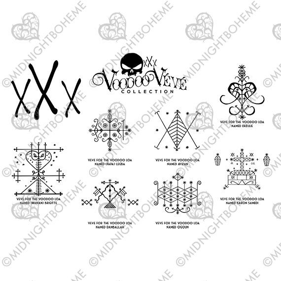 Louisiana New Orleans Voodoo Veve Symbols For Scrapbooking Crafts