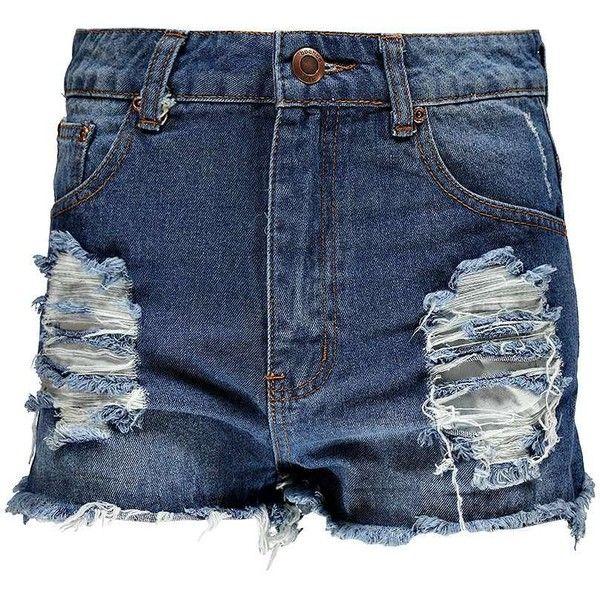 Boohoo Petite Clara Ripped Denim Shorts ($35) ❤ liked on Polyvore