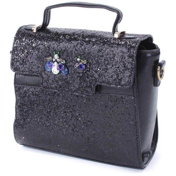 Black Glitter Gemstone Bug Broach Handbag (65 AUD) ❤ liked on Polyvore featuring bags, handbags, snap bag, purse bag, zip purse, zipper handbag and glitter bag