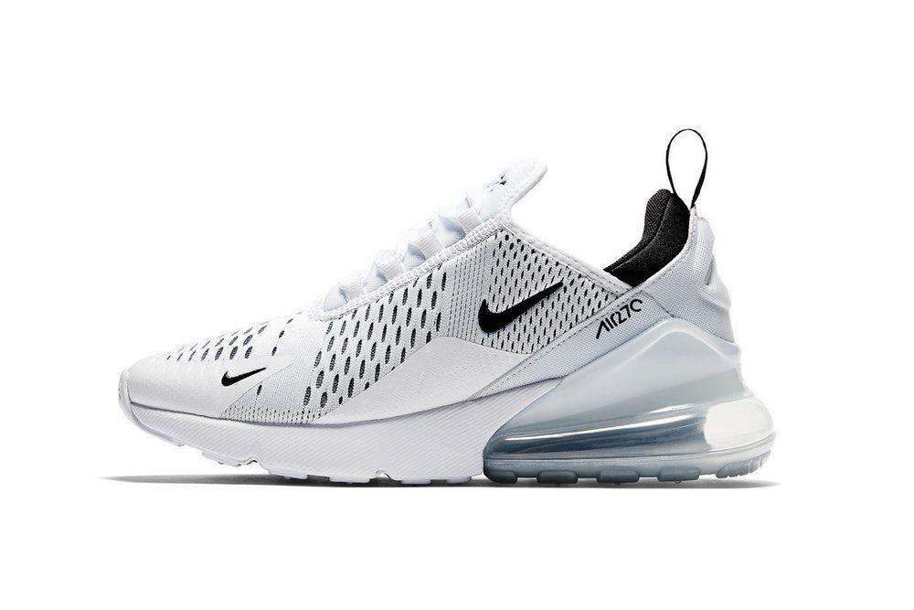 nike air max 270 donne è bianco / nero colorway silhouette nuove scarpe da ginnastica