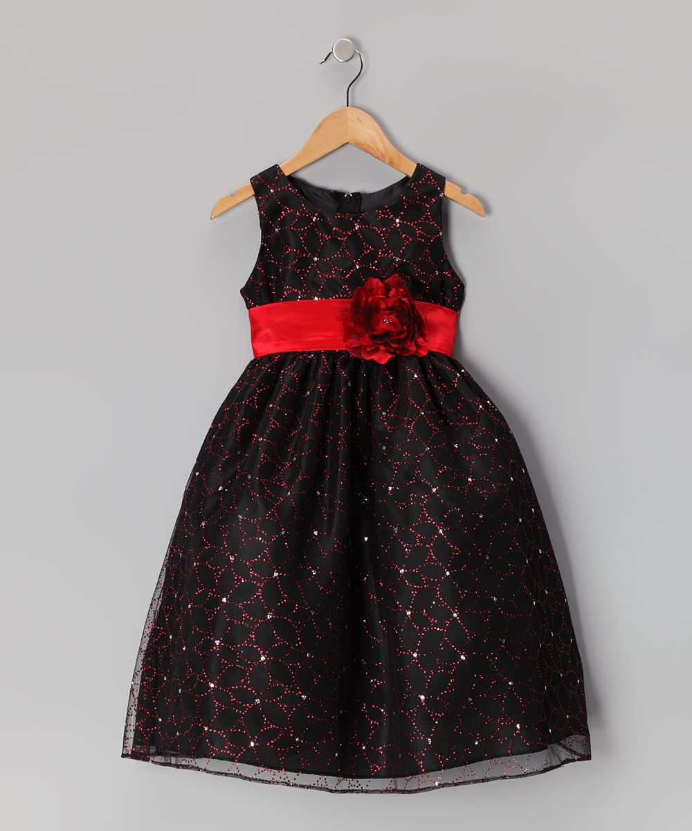 Black u red flower glitter dress toddler u girls pink baby and