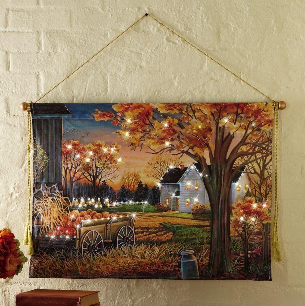 Lighted Autumn Harvest Pumpkin Canvas Wall Hanging Thanksgiving Fall Home Decor Canvas Wall Hanging Pumpkin Canvas Canvas Decor