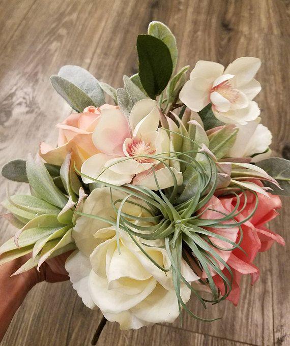 Silk Succulent Rose Cherry Blossom Bouquet Colorful Wedding