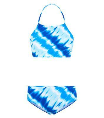 New Look Teens Blue Tie Dye Halter Neck Bikini Set #swimwear #beachtrip #vacation #sunny #women #covetme