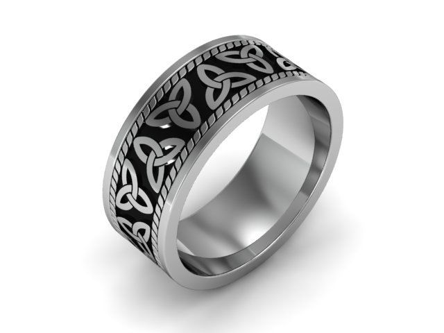 Mens Celtic Wedding Band White Gold With Black Antiquing Triquetra Trinity Knot Trefoil And Triangle Ring